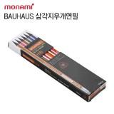 [monami] 모나미 바우하우스 삼각지우개연필 6003-블랙우드 HB 12본