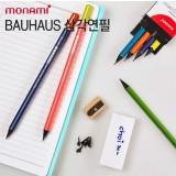 [monami] 모나미 바우하우스 삼각연필 3001-블랙우드 B 6본